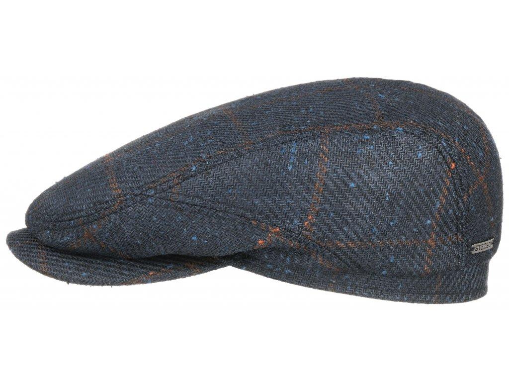 Bekovka Driver cap vlna a hedvábí od Stetson 6382301 modrohnědá kostka