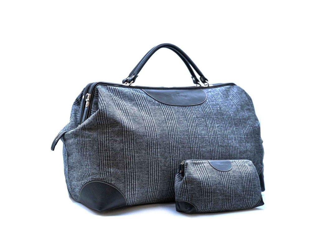 Cestovní taška a kosmetická taštička - černá kůže a kostkovaná vlna