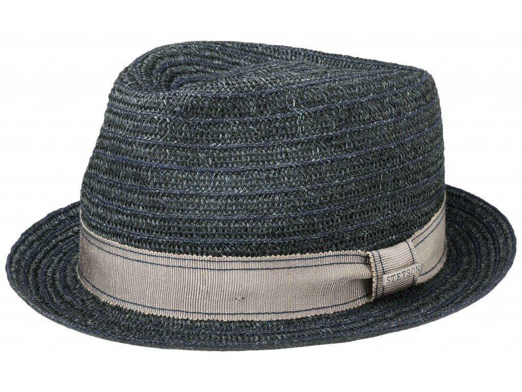 Letní klobouk Trilby Crochet od Stetsonu - modrá s šedou stuhou - 2148510