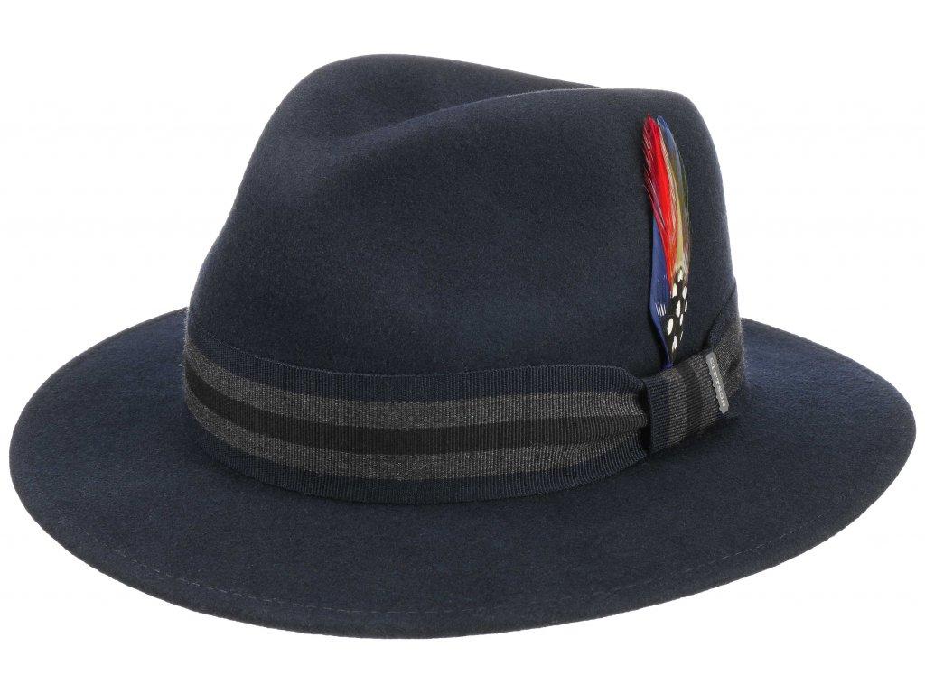 Klobouk fedora Stetson - Traveller Vitafelt - modrá barva - 2528110