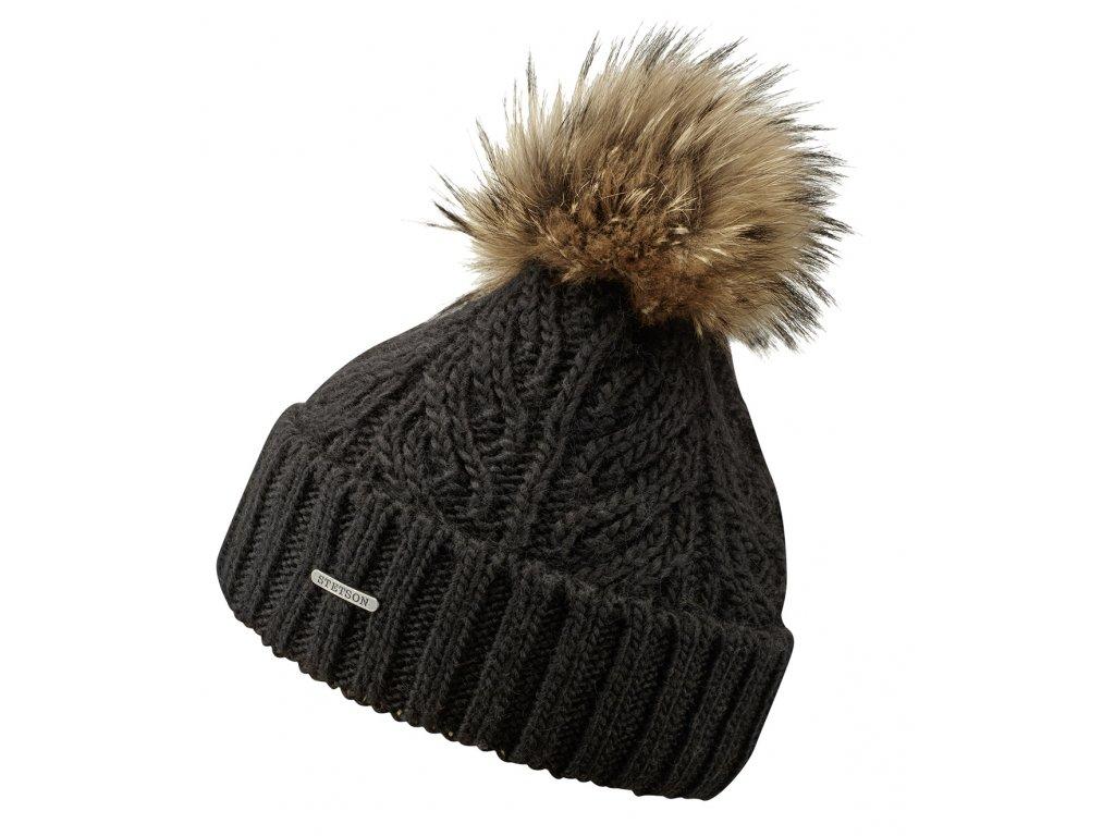 Zimní čepice Stetson - Beanie Racoon - černá