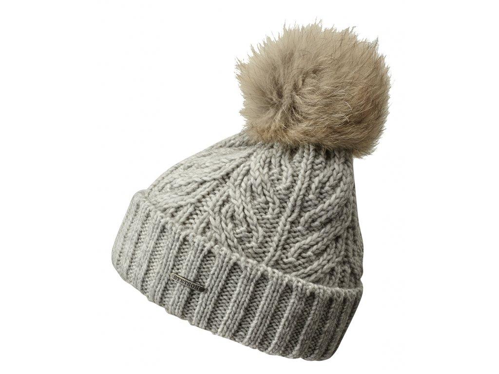 Dámská zimní čepice s bambulí s kožešiny - čepice Stetson - Beanie Racoon - šedá