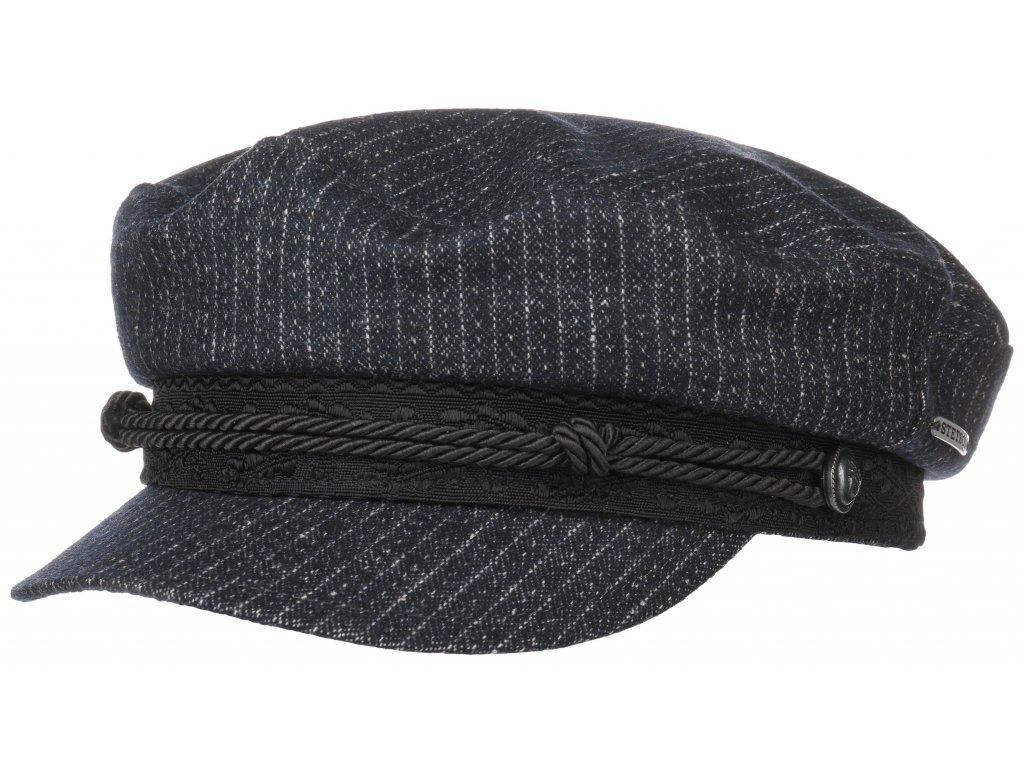 Námořnickákapitánka - Riders Cap - modrá pruhovaná bavlněná