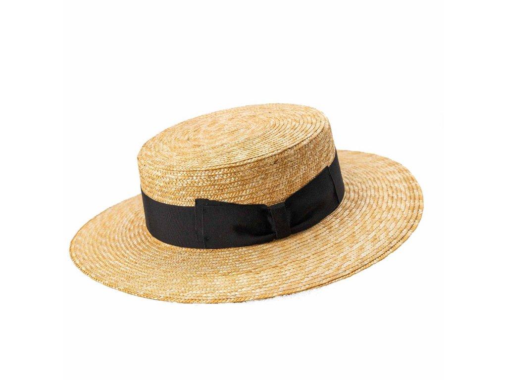 Letní slaměný boater klobouk - unisex žirarďák- Carlsbad Hat Co. nová kolekce s černou stuhou