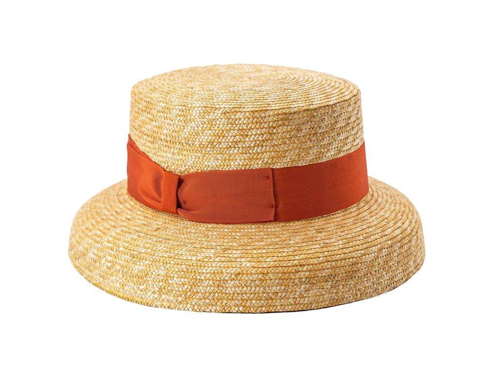 Audrey slaměný dámský klobouk - oranžová stuha - Carlsbad Hat Co. nová kolekce