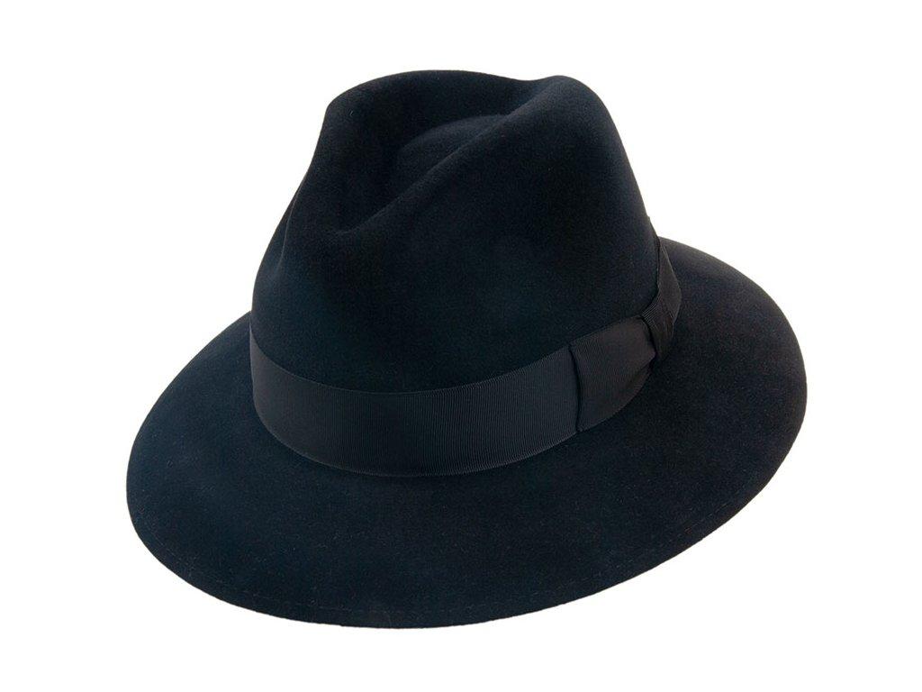 Luxusní zámišový černý klobouk zdobený rypsovou stuhou - Tonak 12858/19