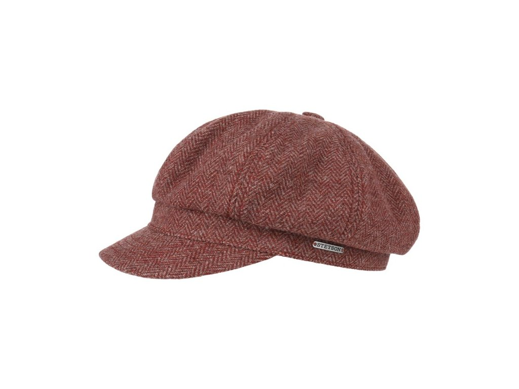 Newsboy cap Stetson Herringbone 6860501 bordó1