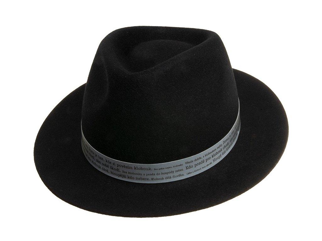 Jednoduchý černý Fedora klobouk - 21158/18 - limitováná kolekce