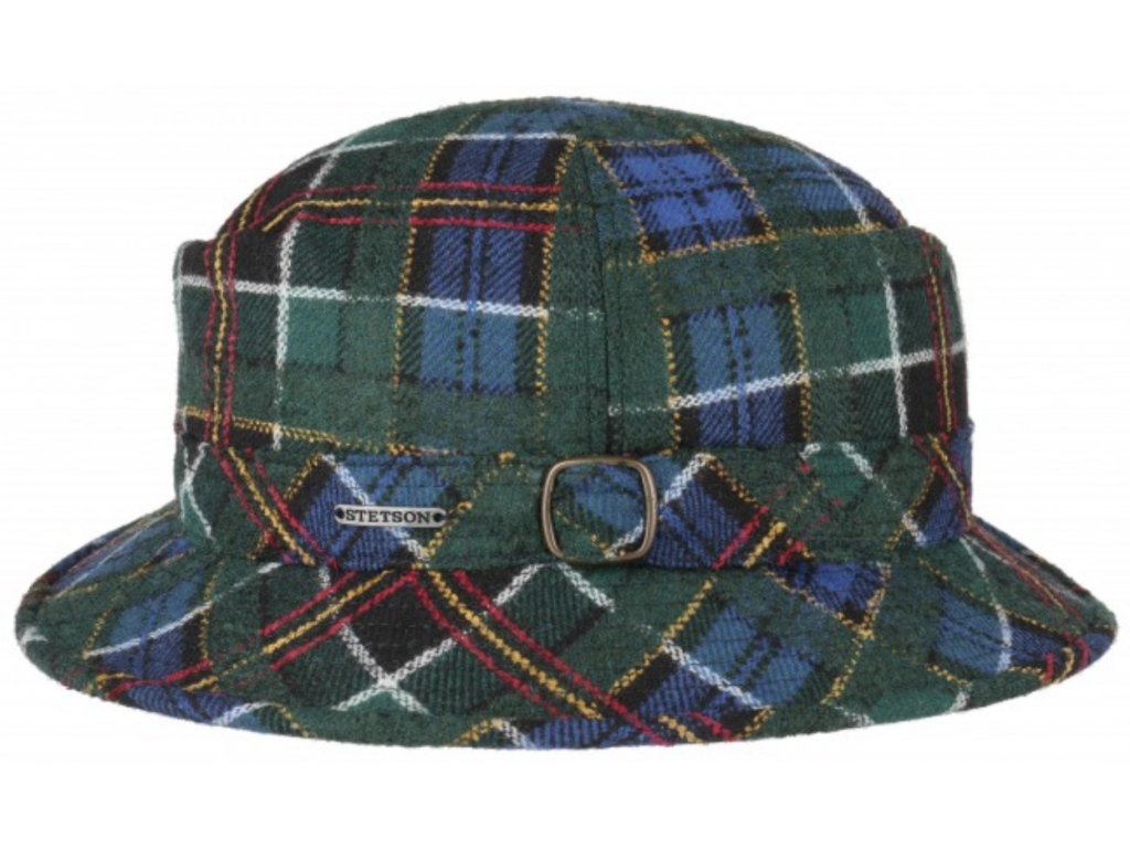 Vlněný klobouk Bucket Stetson - modrozelená kostka  - 1190301