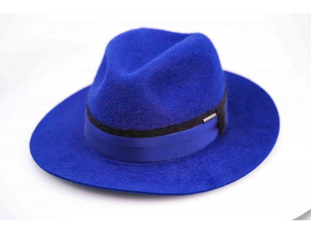 Luxusní zimní klobouk Stetson - Fedora Furfelt - modrý, delší vlas - 2198201
