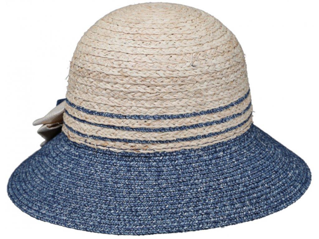 Dámský letní slaměný klobouk Cloche zdobený mašlí - dvoubarevný modrobéžový