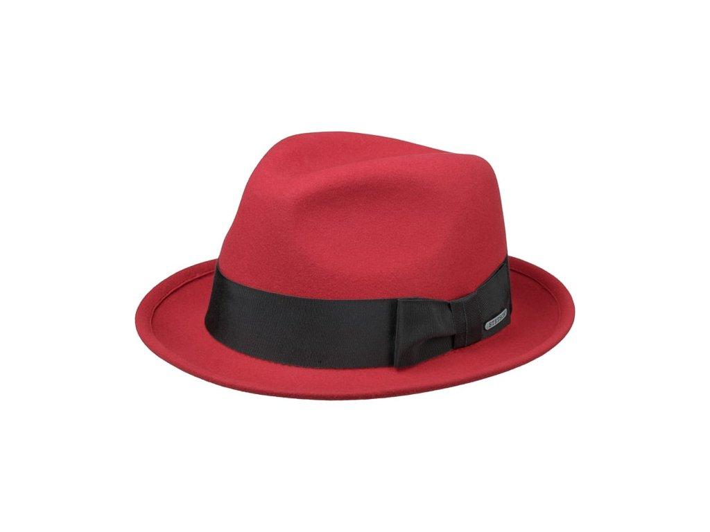 Plstěný luxusní červený klobouk trilby Stetson 1398204