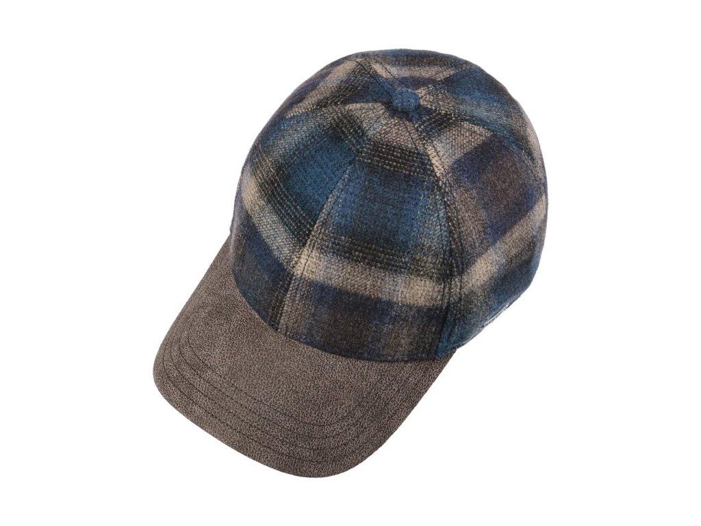 Vlněná klasická modrohnědá kostkovaná kšiltovka Stetson Baseball Cap wool kožený kšilt 2