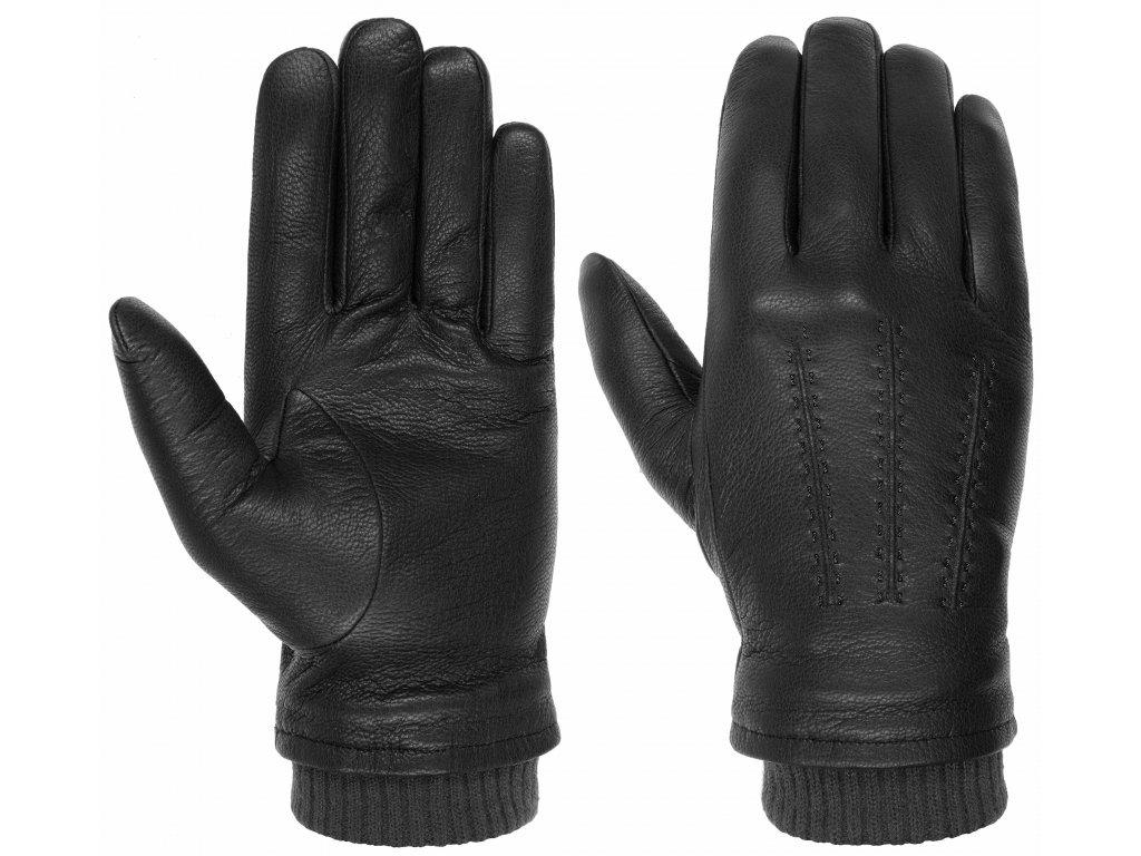 Pánské zimní černé rukavice Stetson - 9497217