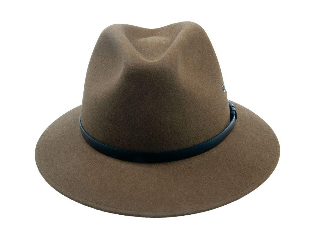 Pánský klobouk plstěný khaki s koženým páskem Tonak fedora 3