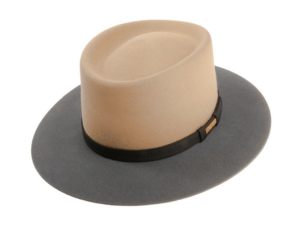 Dvoubarevný unisex šedobéžový porkpie klobouk od Tonak
