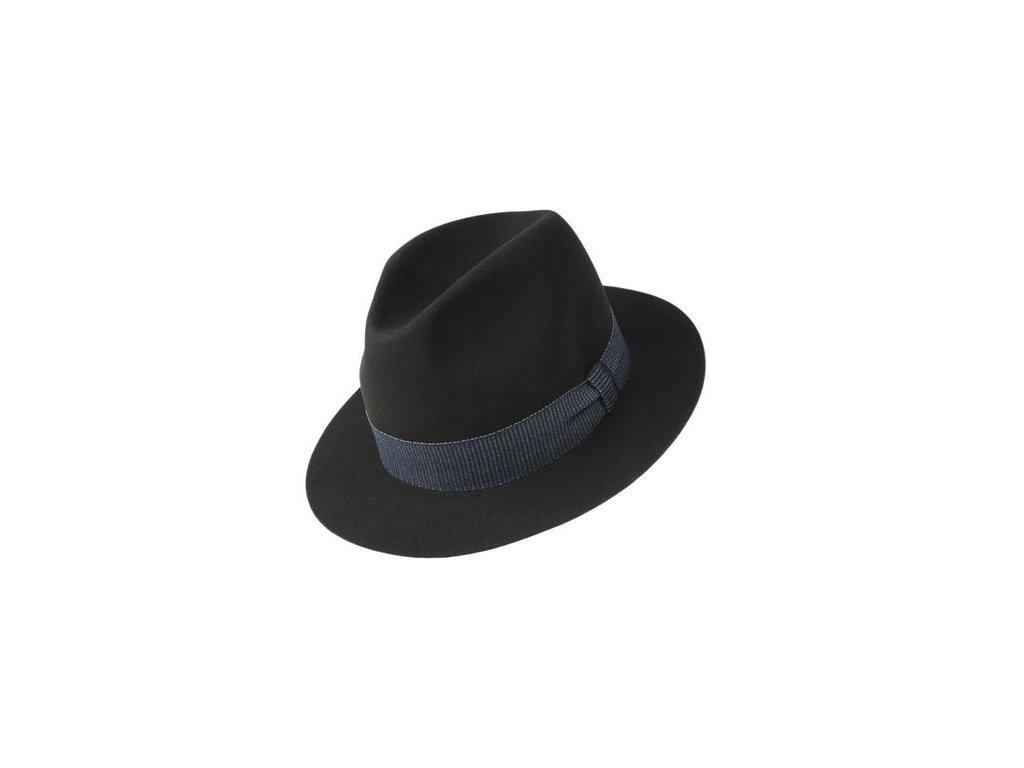 Plstěný hnědý klobouk Tonak velice jemná a tenká plsť zdobený modrou rypsovou stuhou