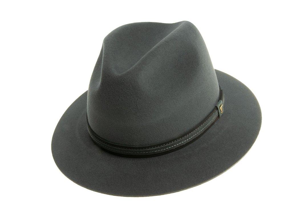 Luxusní zámišový šedý klobouk zdobený koženou stuhou Tonak 4