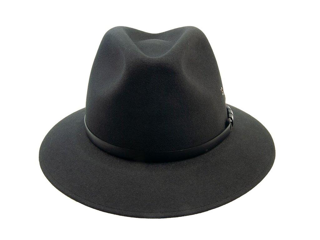 Pánský klobouk plstěný tmavě šedý s koženým páskem 3