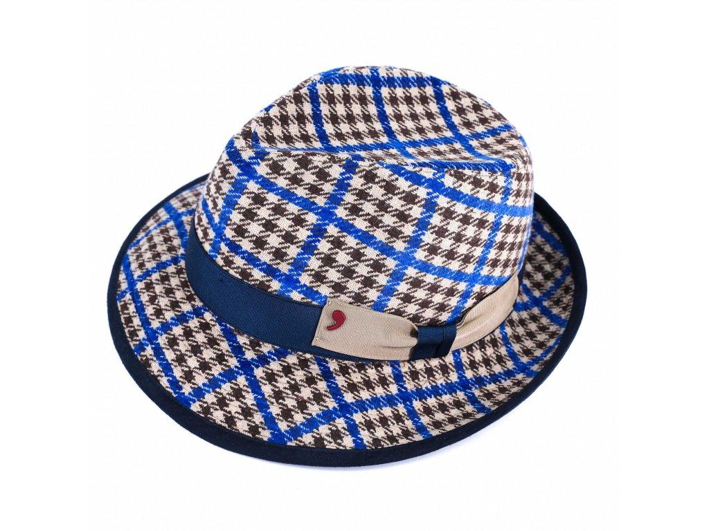 Modrohnědý vlněný látkový klobouk trilby - Alfonso d'Este - ušní klapky - 25697