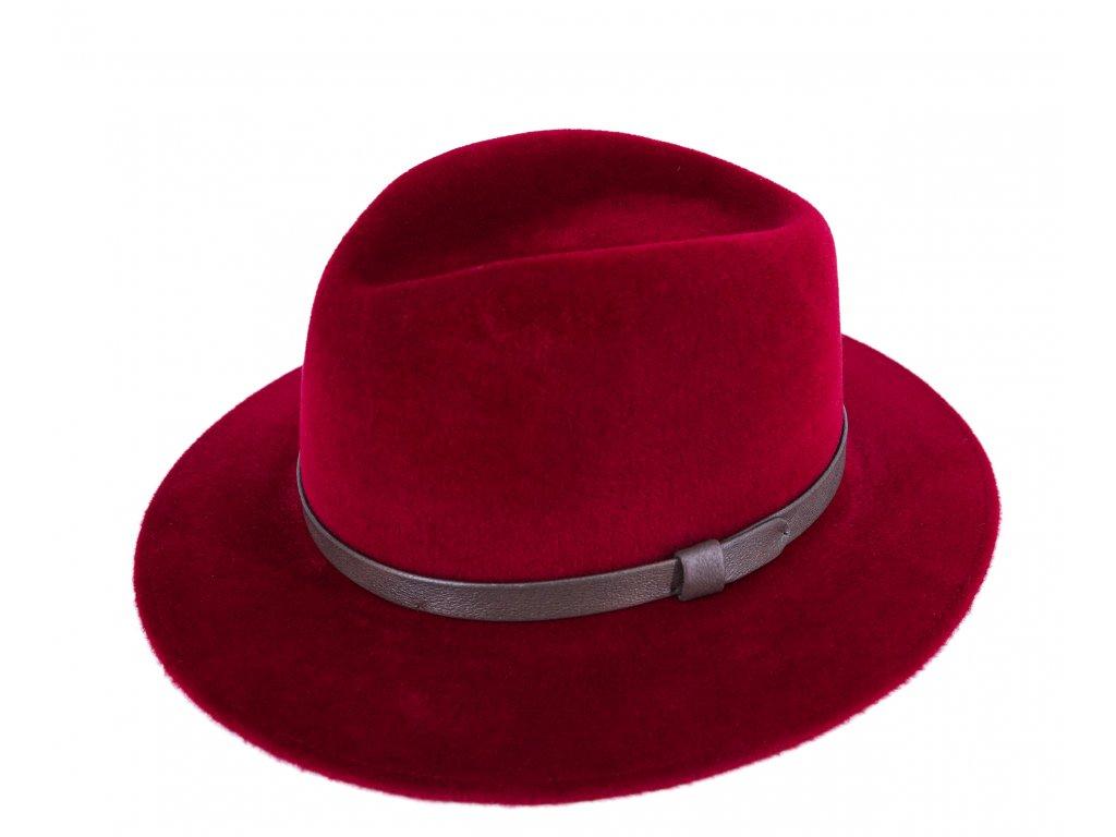 Luxusní limitováná kolekce Tonak for Carlsbad Hat Co. - bordó s koženým páskem - delší vlas