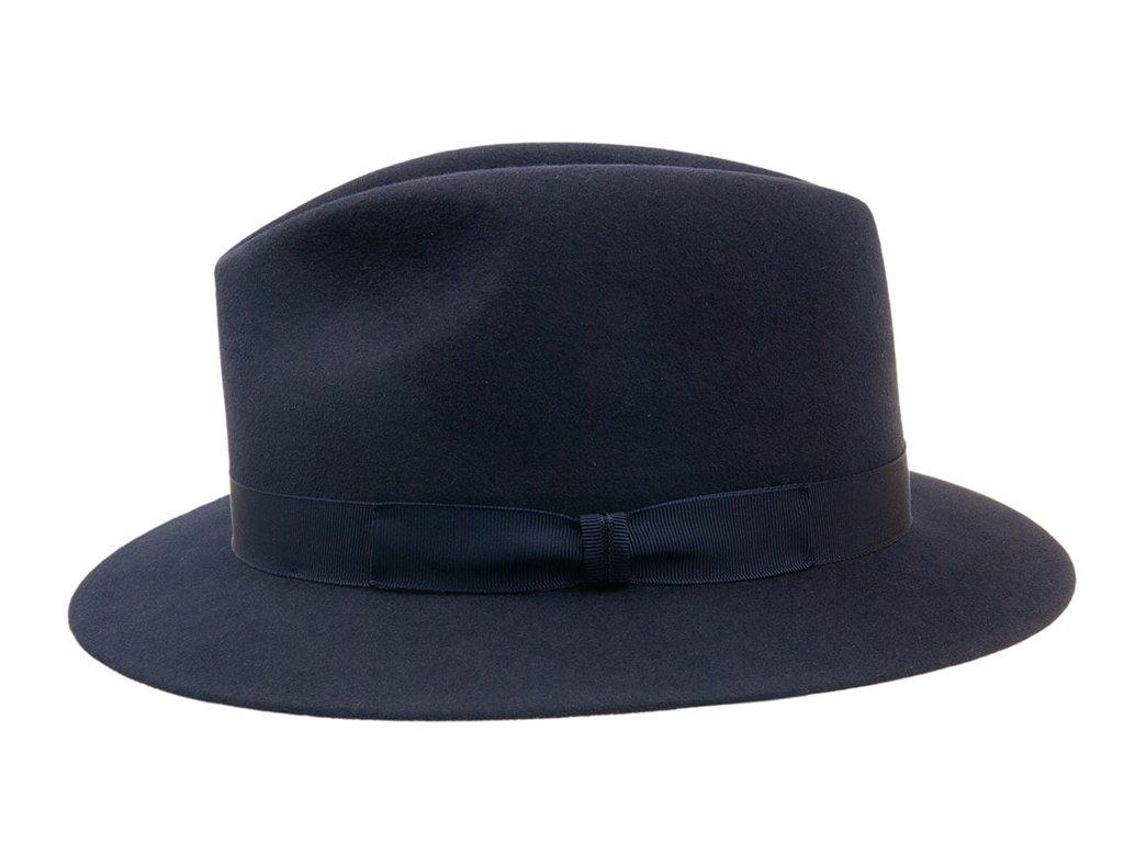 Plstěný modrý klobouk zdobený rypsovou stuhou #