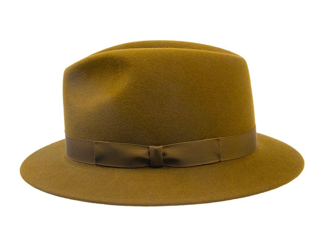 Plstěný khaki klobouk zdobený rypsovou stuhou 3