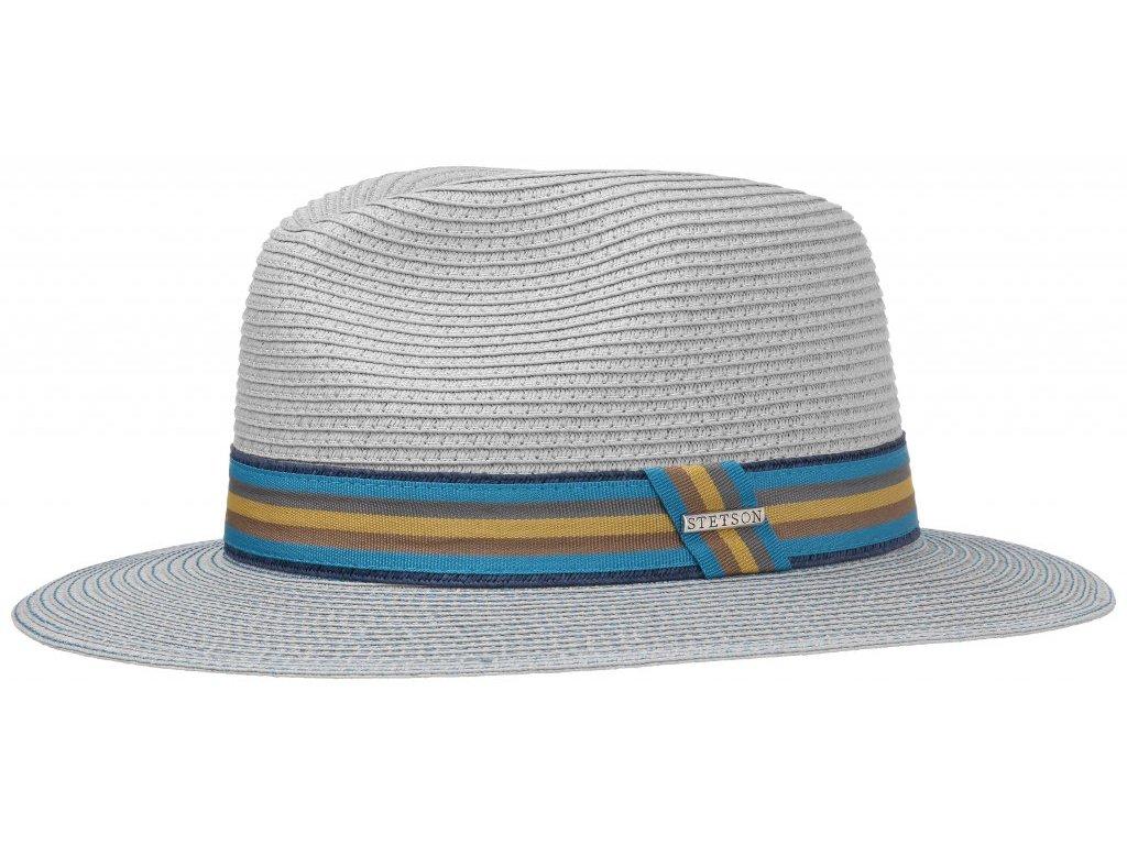 Modrý letní nemačkavý klobouk od Stetson - Traveller Toyo - modrý - 2478501