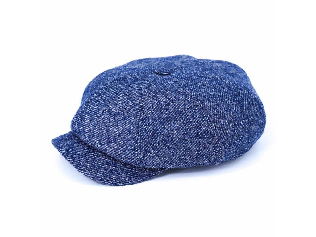 Modrá tvídová bekovka - vlna a kašmír - Carlsbad Hat Co. s kožíškem uvnitř (umělá kožešina)