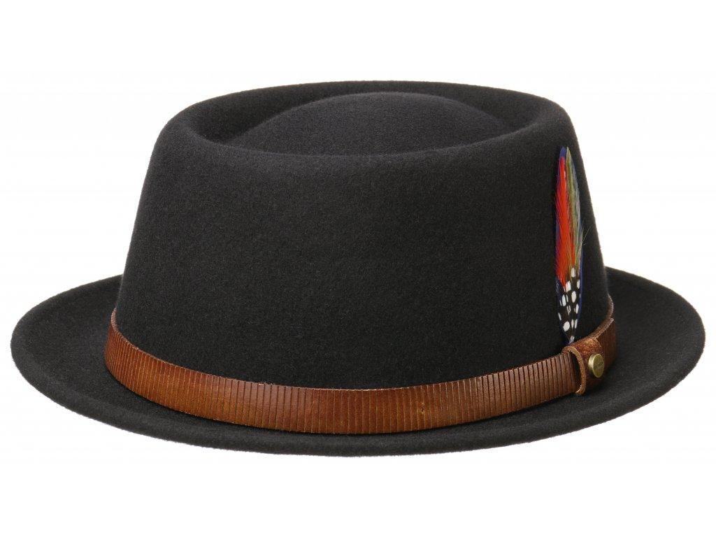 Plstěný klobouk porkpie - Stetson - černý klobouk - 1658102