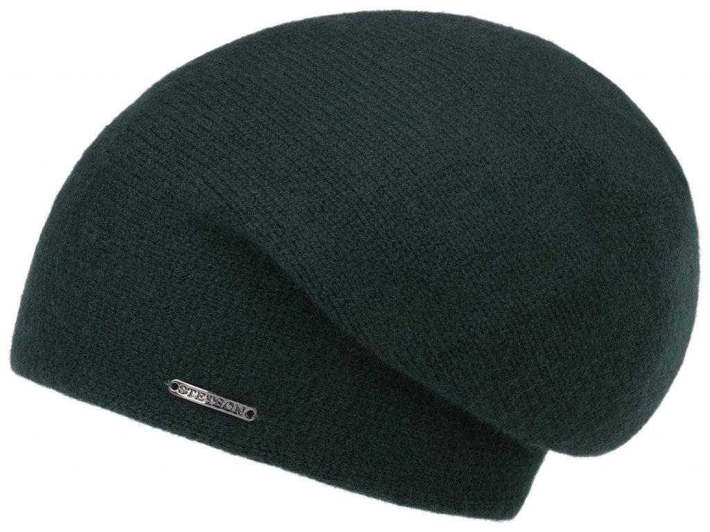 Delší zelená kašmirová čepice