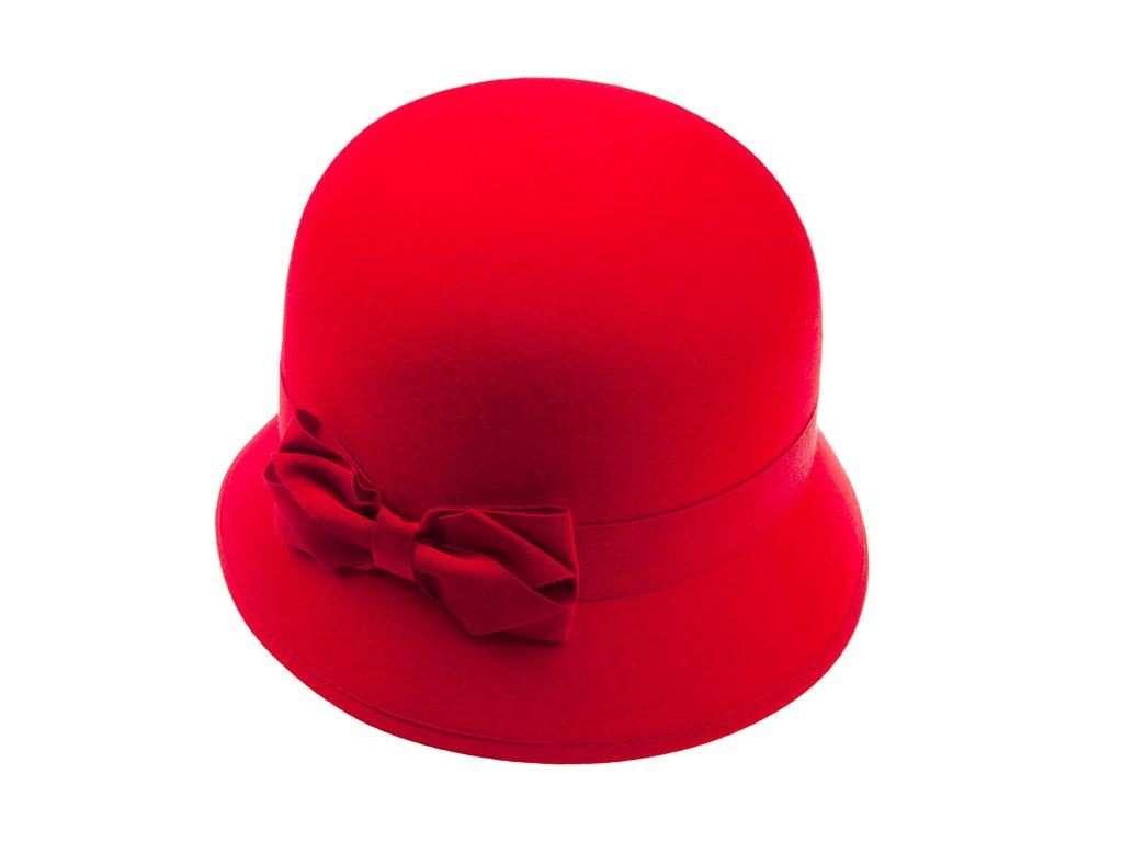 Plstěný dámský červený klobouk 53295/17