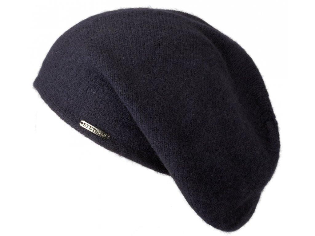 Modrá kašmírová čepice od Stetson Long Beanie Cashmere 8699203