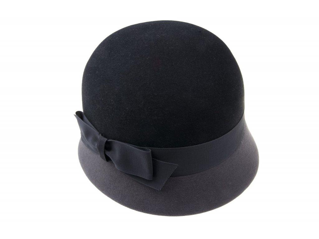 Kombinovaný plstěný šedý dámský klobouk zdobený stuhou s mašlí 53332/17