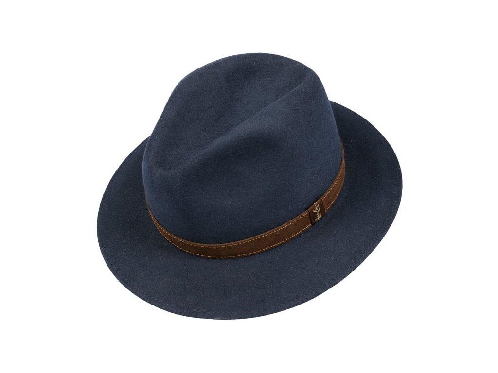 Unisex modrý klobouk Borsalino s hnědým koženým páskem 2