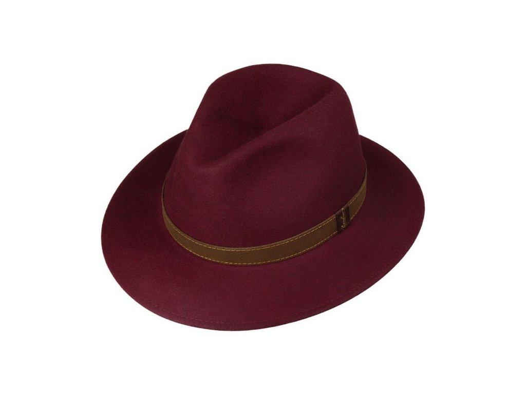 Unisex bordó klobouk Borsalino s hnědým koženým páskem 2