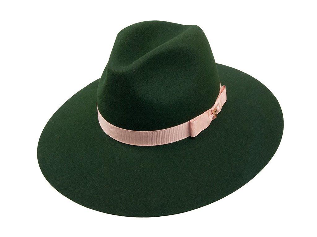 Zelený klobouk s ružovou stuhou - Tonak 53394/17