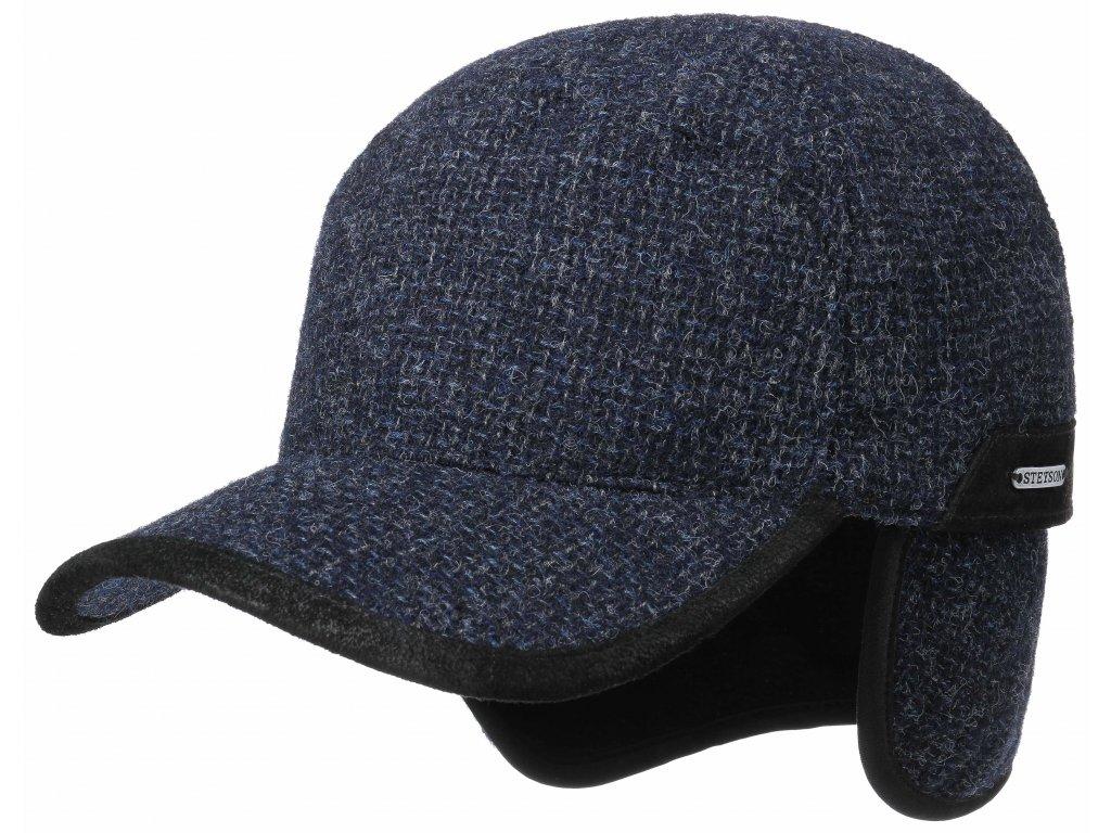 Vlněná klasická modrá kšiltovka Stetson (ušní klapky) - Baseball Cap EF Wool/Leather - 7770103