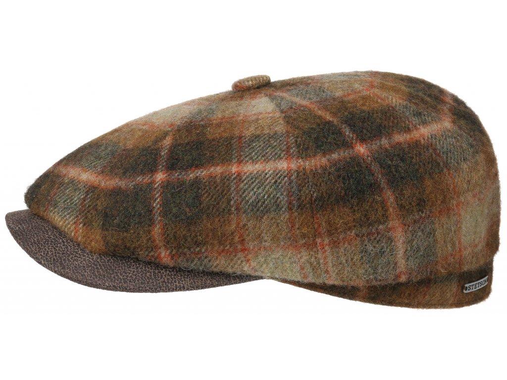 Kostkovaná bekovka s koženým kšiltem od Stetson - hnědá kostka - Hatteras Lambswool Check - 6840327