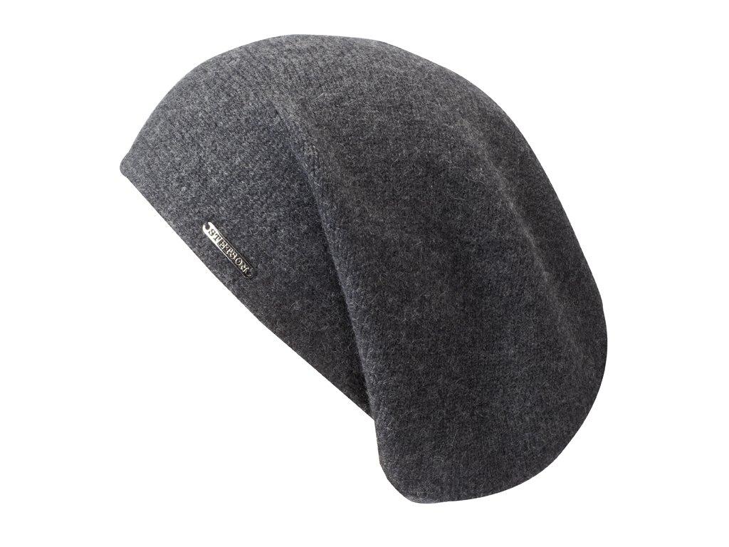 Šedá kašmírová čepice od Stetson - Long Beanie Cashmere - 8699203