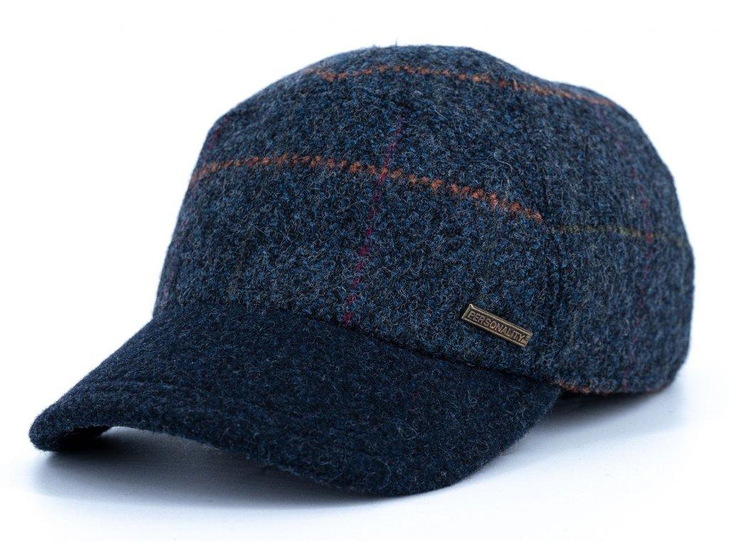 Kšiltovka zimní modrá vlněná kostkovaná s modrým kšiltem (ušní klapky)