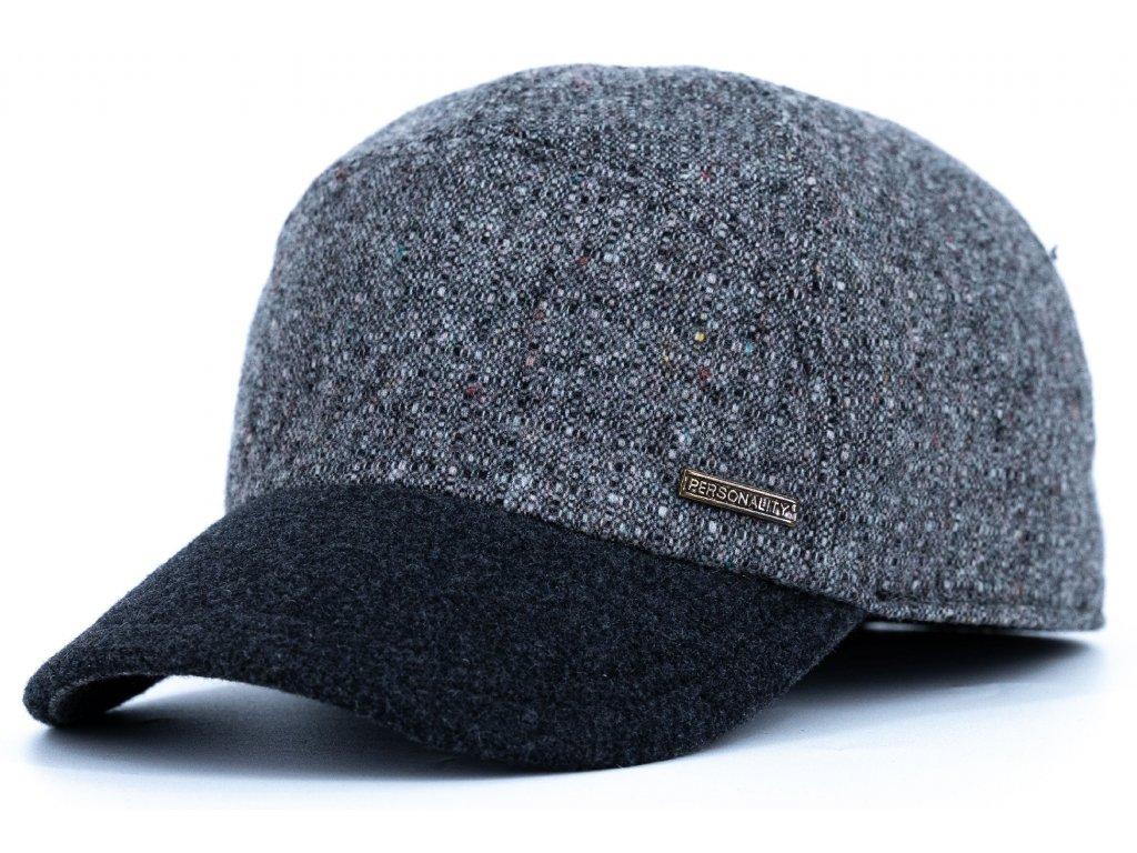 Kšiltovka zimní šedá vlněná s šedým kšiltem (ušní klapky) - Personality