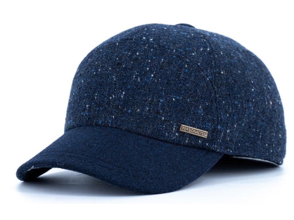 Kšiltovka zimní modrá vlněná s modrým kšiltem (ušní klapky)