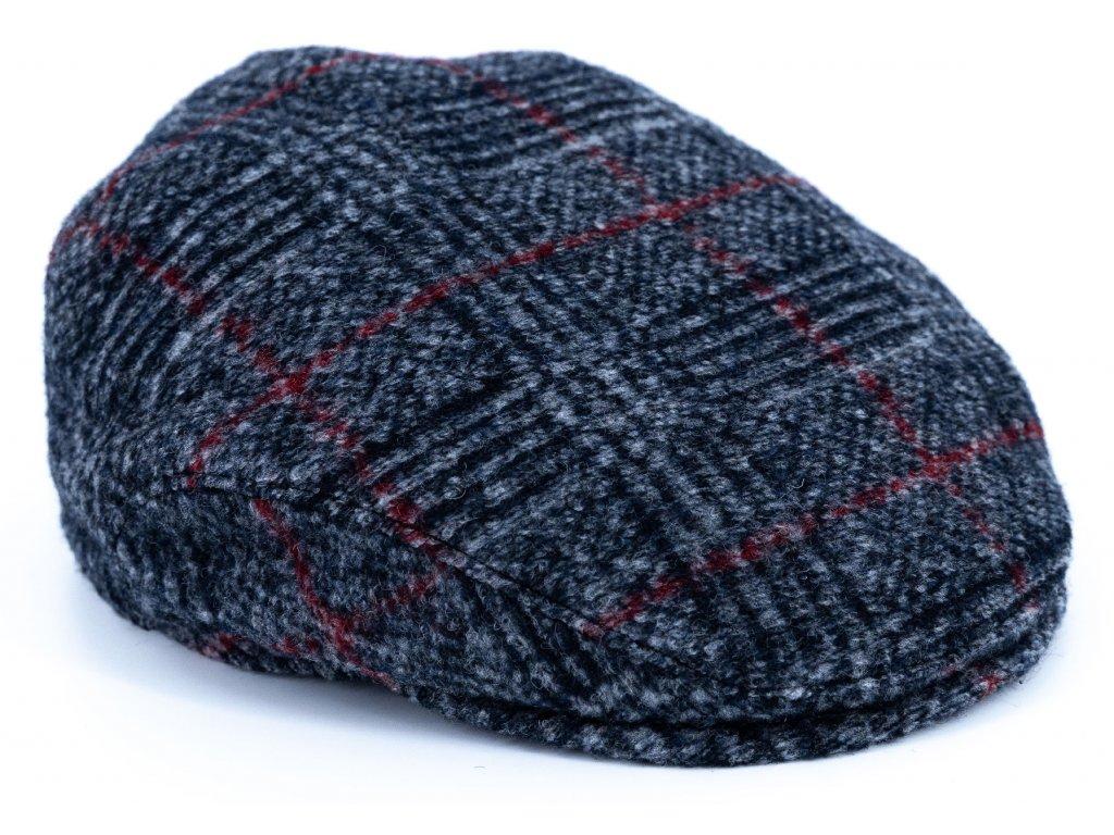 Pánská vlněná zimní kostkovaná bekovka - modrošedá s bordó kostkou - Driver cap Personality 281623