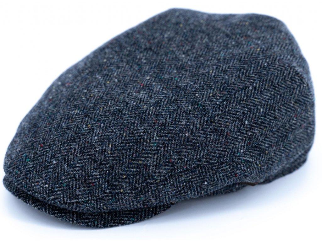 Pánská vlněná zimní šedomodrá bekovka (ušní klapky) - Driver cap Personality 291400 - tvíd rybí kost
