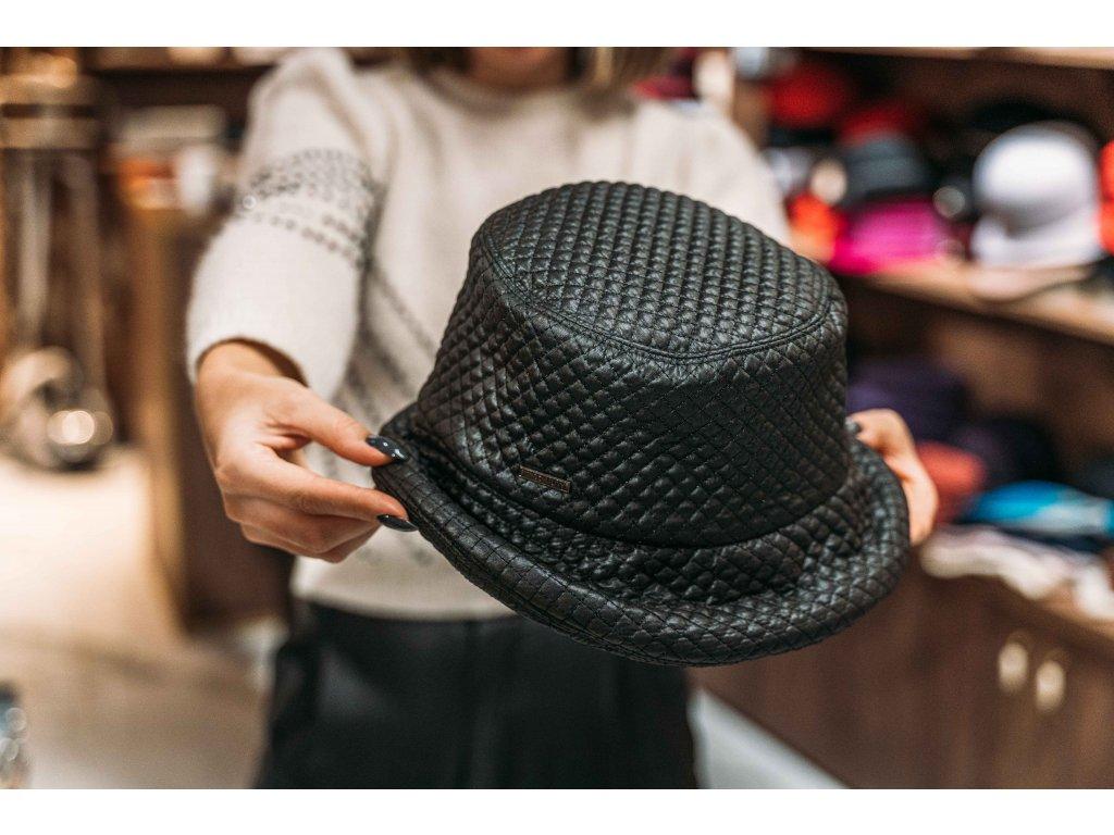 Klobouček černý nepromokavý prošivaný - Bucket Hat