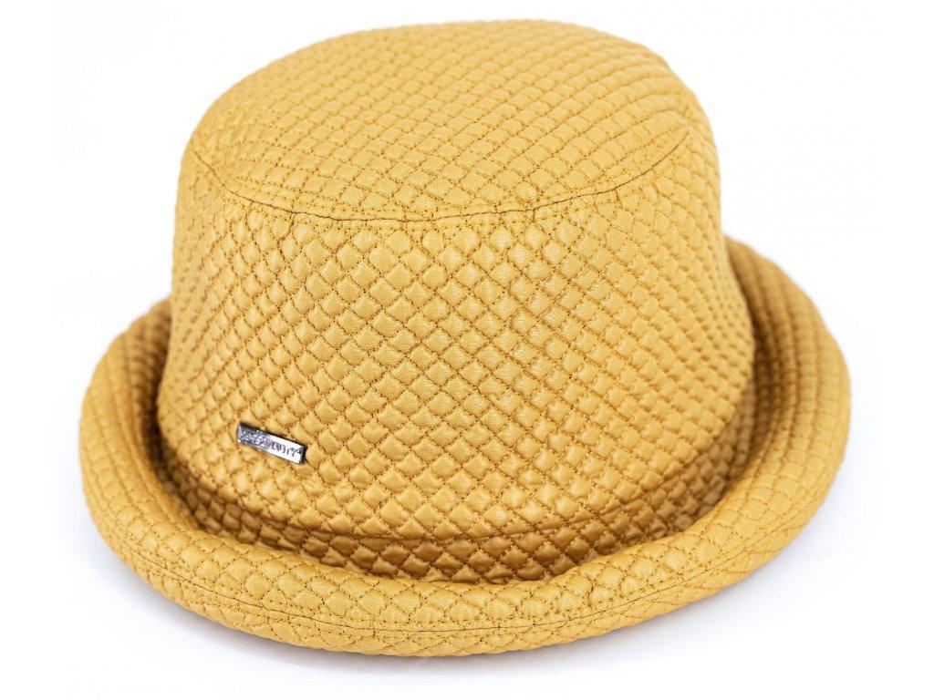 Klobouček okrový nepromokavý prošivaný - Bucket Hat