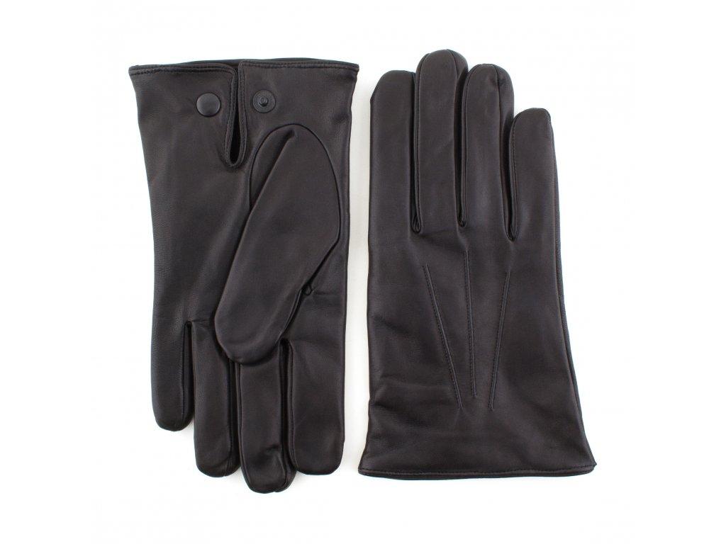Pánské černé kožené rukavice s vlněnou podšívkou - BOHEMIA GLOVES - 812-0420-1261