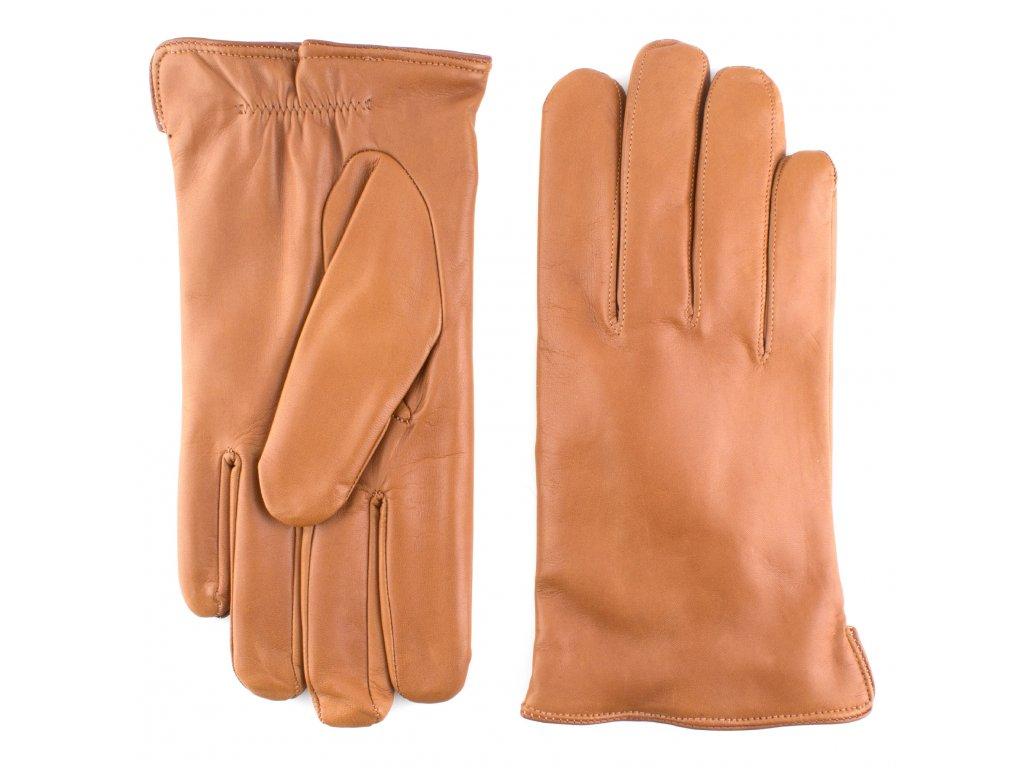 Pánské cognac kožené rukavice s vlněnou podšívkou - BOHEMIA GLOVES - 812-3220-2007