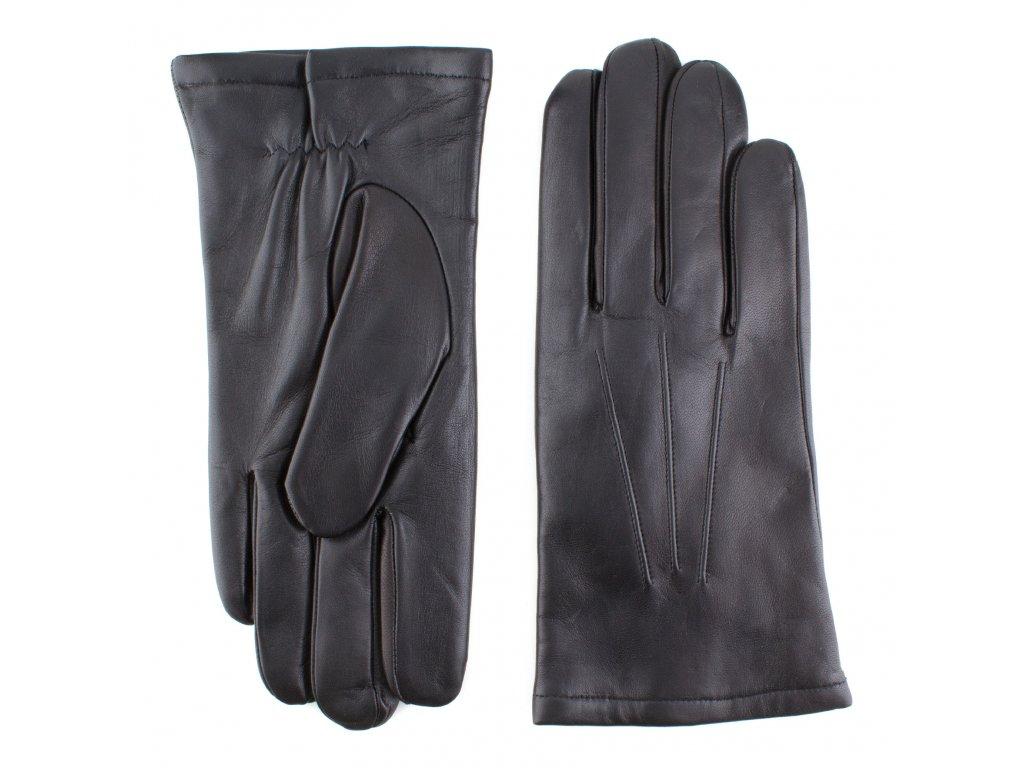 Pánské černé kožené rukavice s vlněnou podšívkou - BOHEMIA GLOVES - 812-9214-1261